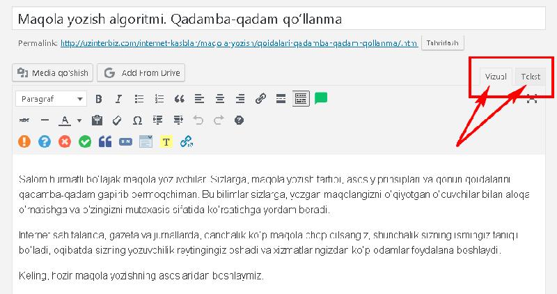 Text va vizual format